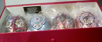 Joan Rivers Set of 4 Jeweled Egg Christmas Ornaments Glass Enameled Boxed