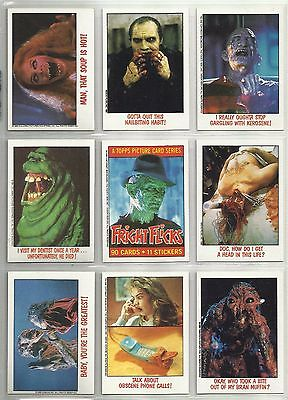 """1988 Fright Flicks """"Complete Set"""" of 90 Cards-11 Stickers & 4 Wrappers BOX FRESH"""