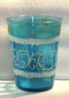 """Antique Victorian Hand Painted Blue Paneled Enamel Water Glass 4"""" Tumbler"""