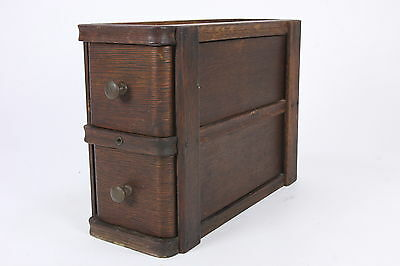 Antique Oak Sewing Machine Cabinet Drawers W/ Frame Two Rounded Wooden Stacked