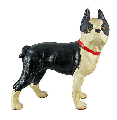 Cast Iron Boston Terrier Dog Statue Hand Painted