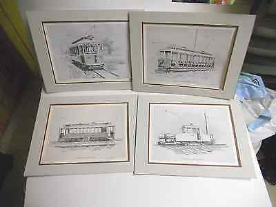 "Lot of 4   Robert J. O'Connor  "" TROLLEY  TRAIN  PRINTS ""  ( Signed -- Numbered"