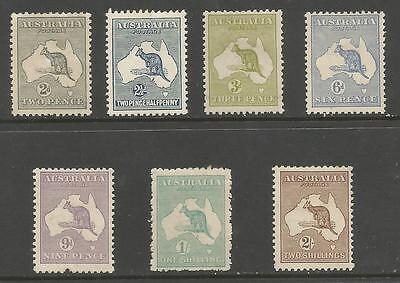 Australia  1915-27 Selection Of 7 Mounted Mint Roos Cat £599
