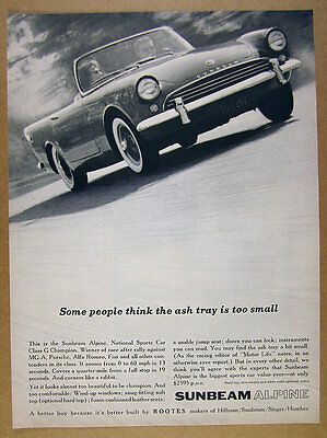 1961 Sunbeam Alpine Sports Car convertible photo vintage print Ad