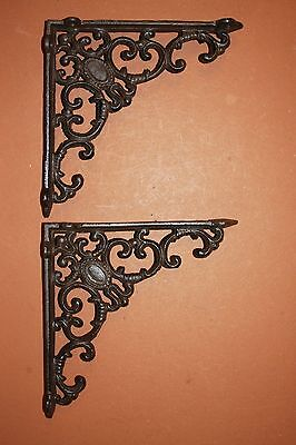 "(6),pcs, 8 Inch Shelf Brackets, 8"" Cast Iron Shelf Brackets, Vintage Look,  B-29"