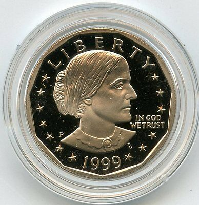 1999 Susan B Anthony Proof Dollar - U.S. Mint Case & COA Certificate - AD852