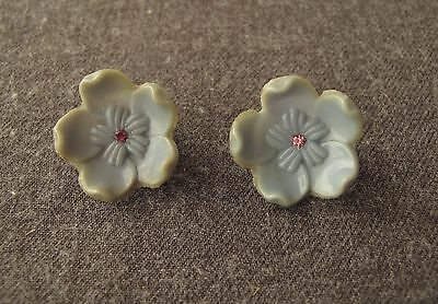 Antique Jeweled Rose Rhinestones Sky Blue Celluloid Flower Earrings