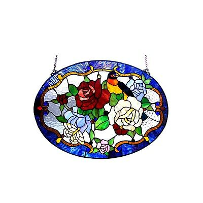 "Handcrafted 24"" Bird & Roses Floral Tiffany Style Stained Glass Window Panel"