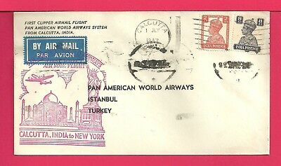 1947 Indai First Flight Airmail Cover To Turkey Fam 18 Aamc F18-75A