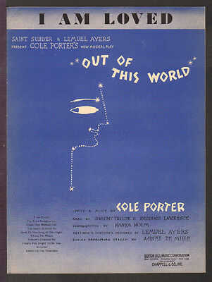 Out Of This World COLE PORTER 1950 I Am Loved BROADWAY Vintage Sheet Music