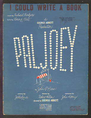 PAL JOEY Rodgers & Hart 1940 I Could Write A Book GENE KELLY Bwy Sheet Music