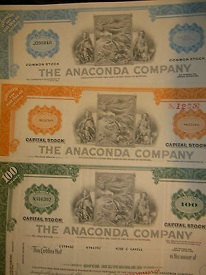 Set of 3 Different Anaconda Company  Mining Certificates
