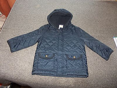 GYMBOREE Boys Jacket Coat 2T 3T Navy Quilted Hooded Fleece Lined