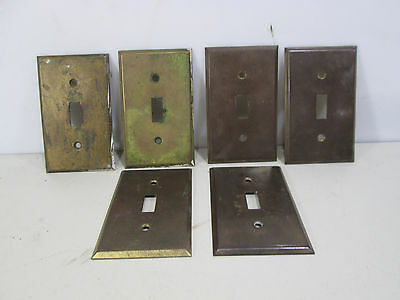 6 Vintage Brass Toggle Switch Plate Covers