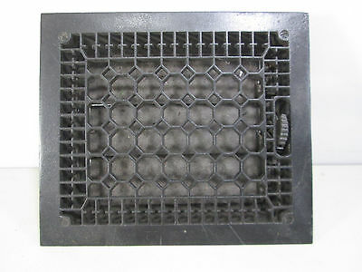 "Vintage Cast Iron Honeycomb Floor Grate with Damper 14"" x 12"" ASG#21"
