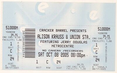 ALISON KRAUSS & UNION STATION 10/8/05 Rockford IL Huge Concert Ticket!