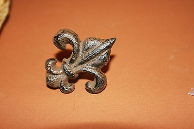 (10), Vintage Look, Fleur De Lis Drawer Pulls, Cast Iron, Restoration, Brown,f-8