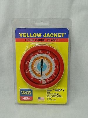 "New Yellow Jacket 49517 3 1/2"" Red Liquid Filled Gauge R134A R404A R407C Tx5"