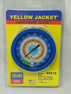 "New Yellow Jacket 49518 3 1/2"" Blue Liquid Filled Gauge R134A R404A R407C Tx5"