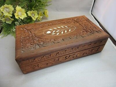 Hand carved wood jewelry box with bone inlay.Made in India