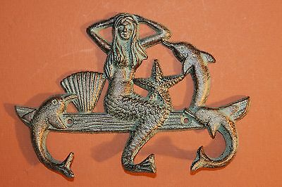 (1) Sea Breeze, Bl, Wall Hook, Mermaid, Dolphins, Bronzed Look, Towel Hook N-
