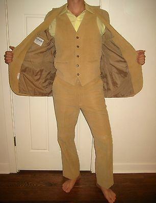 Vtg 70s ELDERADO Mens 40 Coat Western CORDUROY 3 piece CORD Suit Jacket 32 pants