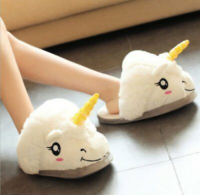 a6186a35bbcc 1 Pair Cute Unicorn Plush Cotton Indoor Unisex Women Kids Slippers Cosplay  Gifts
