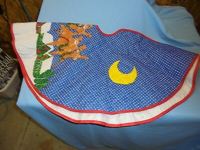 CHRISTMAS TREE SKIRT Quilted Blue Swiss Dot with Santa & Sleigh over Village