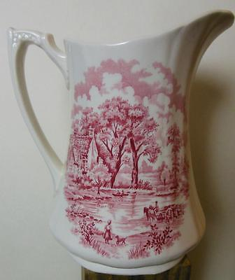 "Vintage Alfred Meakin Pitcher Edinburgh Pink Red Transferware 7""  36 OZ"
