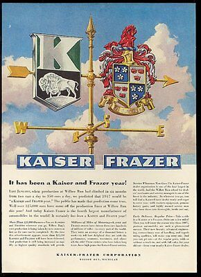 1947 Kaiser Frazer car logo weather vain art vintage print ad