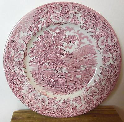 """E I T Pink Red Transferware  Made In England  Plate 8.75"""" Sheep Farming"""