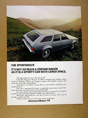 1971 AMC Sportabout station wagon car photo vintage print Ad
