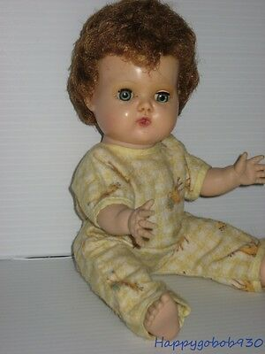 """Vintage 1960s 12"""" American Character Tiny Tears Doll in Flannel PJs  BE6"""