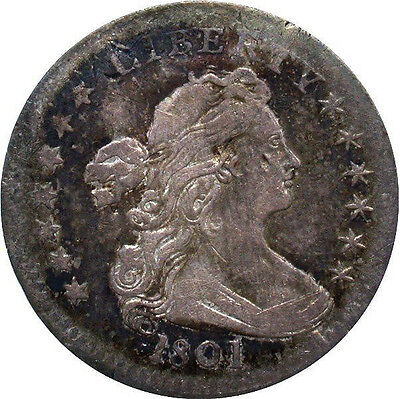 1801 Draped Bust Half Dime LM-2, R4, Eagle w/ Shield Reverse Type , XF Details