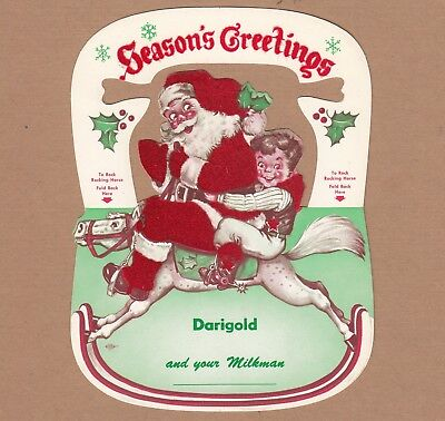 Darigold Advertising Christmas Santa Rocking Horse Seasons Greeting Card 1950s