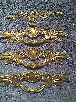 "Ornate Copper Drawer Pulls French Provincial Set 4  Large   7"" With Screws"