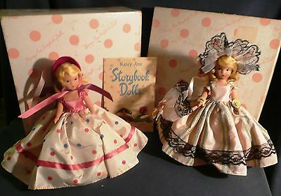 2 VINTAGE tag & Box NANCY ANN Storybook DOLLS for WEE COLLECTORS Molded Bisque