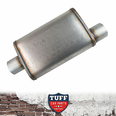 "4"" Megapower Straight Through Stainless Steel Muffler Offset Centre Oval 14x9x5"