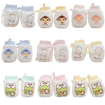 1 Pair Baby Infant Toddler Anti Scratch Mittens Newborn Boy Girl Cotton Gloves