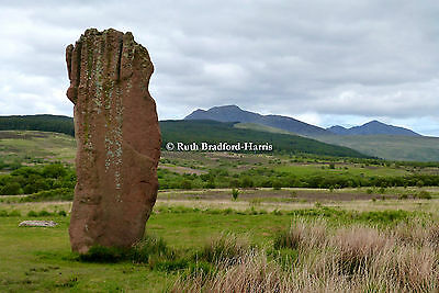 Arran Standing Stone Mountains Photo Print Mounted (10 colours) Greetings Cards