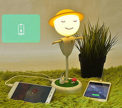 3D Scarecrow Night Light Power Bank USB Rechargeable LED Table Lamp XMAS Kids
