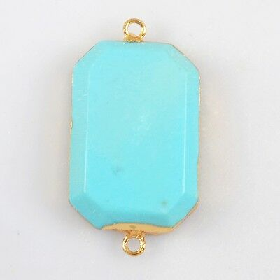 Blue Howlite Turquoise Faceted Connector Gold Plated H83068