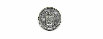 Netherlands East Indies 1920  1/10 Gulden Silver Coin