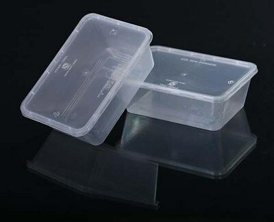 100 Pcs 500 ml rectangular plastic take away container & lids (50pairs) MADE OZ