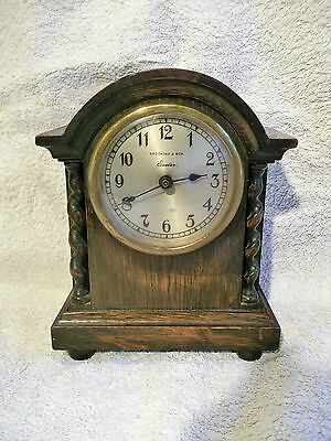 Vintage wood case mantel clock - Brooking & son Exeter - WO