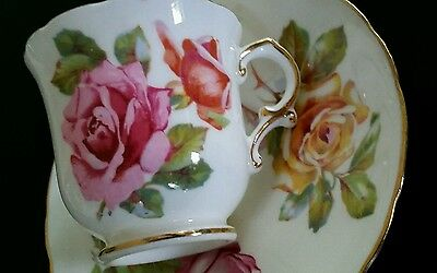 VINTAGE RETRO 40s BEAUTIFUL ROSE DESIGN DEMITASSE COFFEE CUP