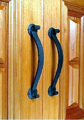 Large Black wrought iron entrance single door handle Brand New 370mm