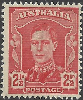 Australia 1942 2½d Red KGVI + leaves/gumnuts Unhinged Mint SG 206