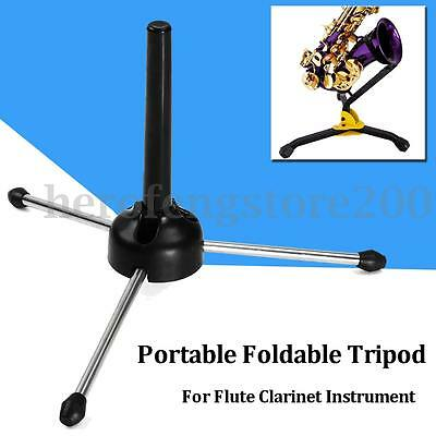 Portable Foldable Metal Tripod Flute Clarinet Instrument Stand Holder Mount Rack