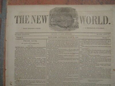 25 July 1840 - old newspaper : The New World Journal - New York